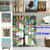 180*180cm Christmas Shower Curtains 3D Printing Tree Beach S...