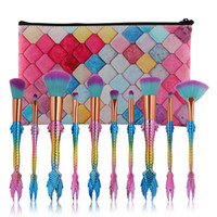 10pcs set Mermaid Makeup Brushes Set Blush Powder Eyeshadow ...