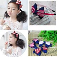 Bandeaux rayés d'arc de mode pour la bande de cheveux d'arc de ruban imprimé par bébé pour des filles d'enfants