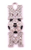 Gioielli festa della mamma spedizione gratuita 50 pezzi molto zinco tempestato di cristalli scintillanti Pendente sportivo MOM calcio (P500135)