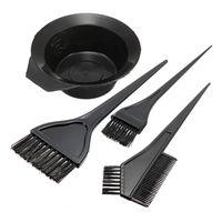 1 مجموعة من 4 قطع صبغ الشعر تلوين فرشاة مشط أسود البلاستيك خلط وعاء الحلاق صالون تينت تصفيف اللون أدوات التصميم