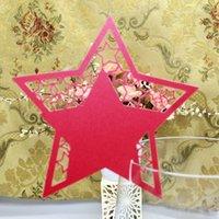 60PCS frete grátis Hot noiva venda decorações do partido Laser corte vidros de vinho Lugar Assento nome do cartão de estrelas em forma Party Decor Paper