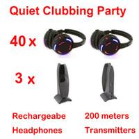 Casque professionnel sans fil à led noir système Silent Disco - Ensemble de soirée clubbing tranquille (40 casques + 3 émetteurs)