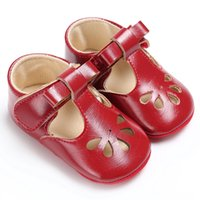 Soft rubber bottom Newborn baby moccasins PU leather fashion...