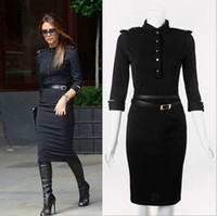 Fashion office lady long sleeve Military uniform slim dresse...