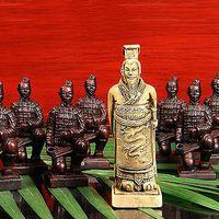 Juego de ajedrez chino extra grande barato al por mayor de 32 piezas / Xian Terracota Warrior