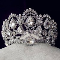 Korean style rhinestone queen wedding big crown and tiaras h...