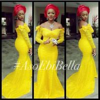 aso ebi стили bellanaija Русалка вечерние платья Нигерия кружева с длинными рукавами с плеча свадьба Пром театрализованное невесты Платья