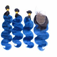 Ombre Mavi Renk Insan Saçı Örgüleri Dantel Kapatma Ile Koyu Kökleri 1B Mavi Dantel Ile Dantel Dalga 3 Demetleri Dantel Ücretsiz Orta kısmı