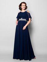 New Mother of the Bride Dress gioiello pavimento-lunghezza applique con maniche a maniche corte in chiffon a-line