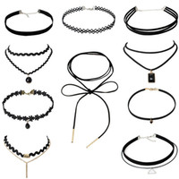 Mode À La Main Vintage hippie Stretch Tatouage Collier Sautoir Charm Long Tassel Réglable Pendentifs Colliers Bijoux pour Black Lace Choker