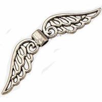 Achados de jóias asas de anjo contas espaçadores pulseiras colares fazer diy prata do vintage flat oco de metal moda 31 * 7mm 400 pcs navio livre