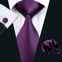 Быстрая доставка фиолетовый галстук ганкообразных запонки набор Жаккардовый мужской мужской фиолетовый галстук набор бизнес-работа Официально встреча свадебный отдых N-0236