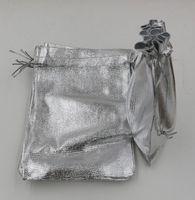 المبيعات الساخنة! 100 قطع الفضة مطلي الشاش الحرير مجوهرات حقائب مجوهرات هدية عيد حقيبة 7x9 سنتيمتر 9x12 سنتيمتر 11x16 سنتيمتر 13x18 سنتيمتر (ab706)