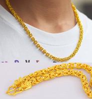 6mm * 54cm hommes 24k plaqué or double collier tête de dragon, mâle se marier déclaration chaîne pour 2016 mâle collier bijoux