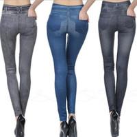 Sıcak satış gerçek jeggings ile kadın tayt gerçek cepler 2016 Yeni Faux kot tayt Bayanlar moda legging spor pantolon Pantolon XXL