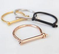 KISS JEWELRY Schäkel Schraube Armband Armreif für Frauen Schraube Armband Mode 18 Karat Roségold Nagel Liebe Schraube Armband wK-001