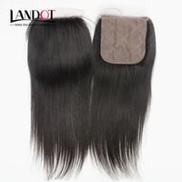 Silk Base Closures Brazilian Malaysian Peruvian Indian Cambodian Straight Virgin Human Hair Lace Closure Free/Middle/3 Way Part Hidden Knots