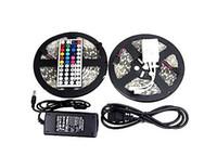 10m 5050 RGB LED Strip Light DC 12V Vattentät 30LEDS / M 150LEDS 5M / ROLL FITA de TIRAS LUCES + 44 Keys fjärrkontroll + 6A Strömadapter