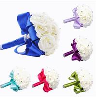 2020 새로운 신부 부케 웨딩 장식 인공 신부 들러리 꽃 크리스탈 실크 로즈 로얄 블루 화이트 그린 라일락 푸쉬 시아 민트 6 색