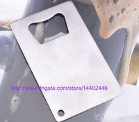 300pcs Polybag Embalaje Monedero de bolsillo Tamaño Tarjeta de crédito de acero inoxidable Abrebotellas de cerveza Abrelatas Herramienta de cocina
