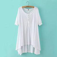 패션 여름 여성 펑크 스타일 코튼 긴 티셔츠 드레스 빈티지 반 슬리브 캐주얼 하이 스트리트 Vestidos 대형