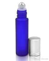 Prix de gros en usine givré bleu rouleau de verre 10 ml sur les huiles essentielles bouteilles de parfum avec bille en acier inoxydable BY DHL livraison gratuite