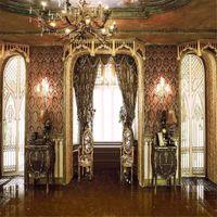 Vintage Düğün fotoğrafçılığı Arka planında Vinil Kapılar Parlak Pencere Perde Damask Duvar Avize İç Sarayı Fotoğraf Stüdyosu Arkaplan