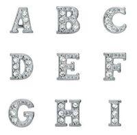 Rhinestones Silverpläterade Alfabetbokstäver A-Z Alloy Floating Charms Fit For Glass Locket DIY Smycken Gratis frakt