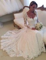 Lange mouwen full lace trouwjurken sexy sweethet a line bruidsjurken sweep trein lange graden bruids jurken 2016 vestido de noiva