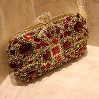 Luxus Rote Kristalle Braut Handtaschen Abend Clutch Taschen Hochzeit Handtasche Designer Gold Formale Party Perlen Geldbörse Brautzubehör
