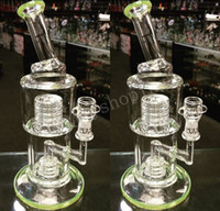 Heady Green Beaker Stereo Matrix Perc이있는 Bent Bent Neck 워터 파이프 Classic Bubbler Recycler Oil Rigs 저렴한 물 담뱃대 무료 배송
