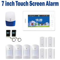 Kablosuz GSM alarm sistemi çok fonksiyonları LCD ekran dokunmatik ekran ev güvenlik alarm ios ve android app desteği SG-216