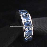 2015 Inverno Novo 925 Sterling Silver Eternity Spacer Charme Bead com Sky Blue Cristal Serve Para Pandora Europeia Jóias Pulseiras Colar