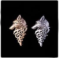 Neue Art und Weise Retro Gold-Silber-Metall Wolf Brosche Schmuck für Männer