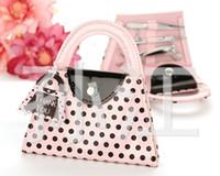 gratis frakt 50set / mycket rosa polka dot handväska manicure set favor bröllop brud duschfavörer och gåvor