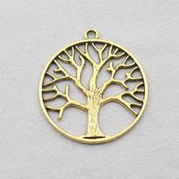 Fashion 34mm Antik guldpläterad träd Hängsmycke Charms för halsband gör 50pcs AAC786