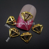 10pcs Gold metal nail art Diamond shape Hollow design for na...