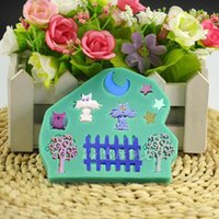 star moon cat fence garden Silicone Soap Mold Fondant Cake D...