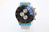 Cinturino in acciaio inossidabile cronografo al quarzo di marca Fine vendita Nuovo cinturino in acciaio inossidabile al quarzo cinturino nero