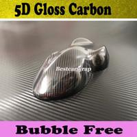 Film d'enveloppe de voiture de wrap de vinyle de carbone de 5D glacé haut sans bulles d'air de carbone de 5D comme vrai carbone taille 1.52x20m / petit pain