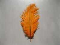 Бесплатная доставка 100 шт. / лот 8-9 дюймов оранжевый страусиные перья шлейфы для свадьбы центральные партии декор событие праздничные поставки