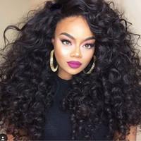 300% hoge dichtheid diep krullend kanten pruiken lijmloze full lace front menselijk haar pruiken met baby haar voor zwarte vrouwen