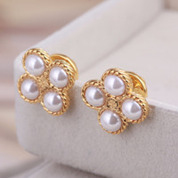Top brass material Brand name 4 pcs Pearl beads stud Earring...