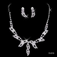 15019 Design elegante argento placcato collana orecchini sposa perla strass Set Accessori economici per il partito di Prom
