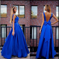Stylish Simple Royal Blue Party Dresses Prom Gown with Bow Open Back Formal Evening Gowns A Line Taffeta Modern Women Lady Outfits