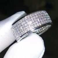 250Pcs Schmuck Diamonique simulierter Diamant weißer voller Topaz 10KT Weißes Gold füllte Diamant CZ Frauen Ehering Fingerring Geschenk Sz 5-11
