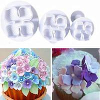 Livraison Gratuite 3 pcs / ensemble Hydrangea Plongeur Moule Gâteau Décoration Outils De Gâteau / Cookie Cutters TY1691