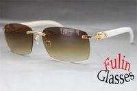 Atacado-Atacado 2015 New Sunglasses Branco Búfalo Genuine chifre Óculos Todas As Cores: Ouro 8200759 ou Prata 8200760 Tamanho 60-18-140mm