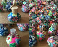 10ml-15 ml 차 장식 손으로 만든 폴리머 클레이 에센스 오일 향수 병 손 그리기 로프 빈 병을 그리기